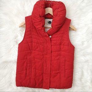 Anthropologie Corduroy Red Puffer Vest